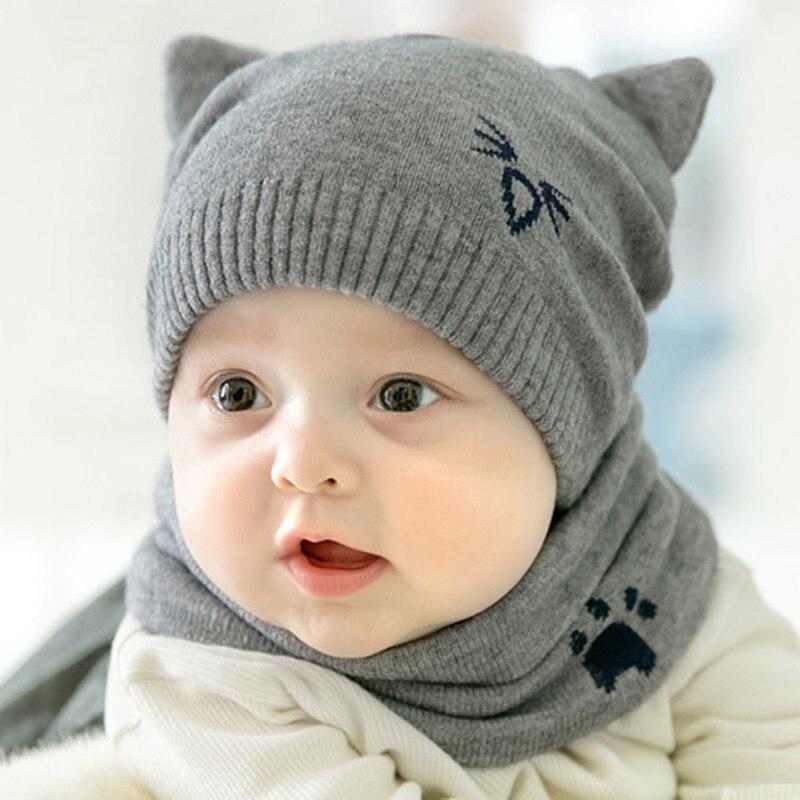 2 Teile/satz Baby Hut Schal Mit Ohr Gestrickte Warme Cartoon Katze Neugeborenen Baby Junge Mädchen Hut Kappe Winter Hut Beanie Schals Anzüge
