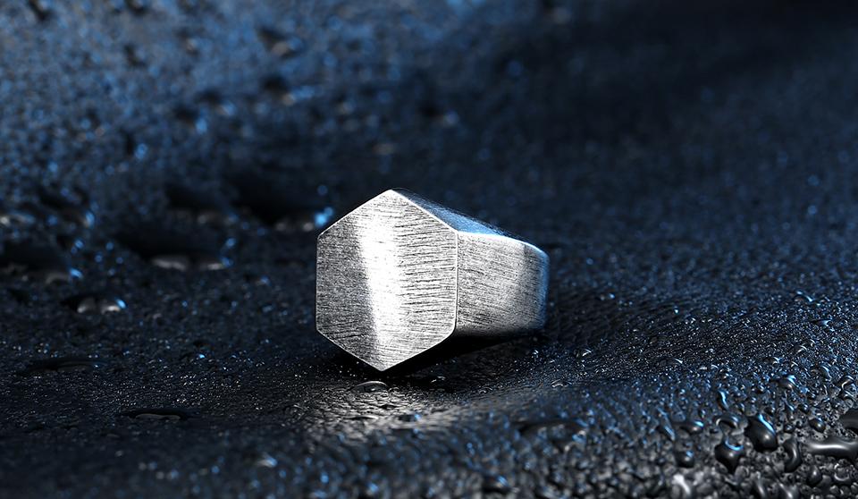 Стальной солдатский полированный шестигранник модное кольцо