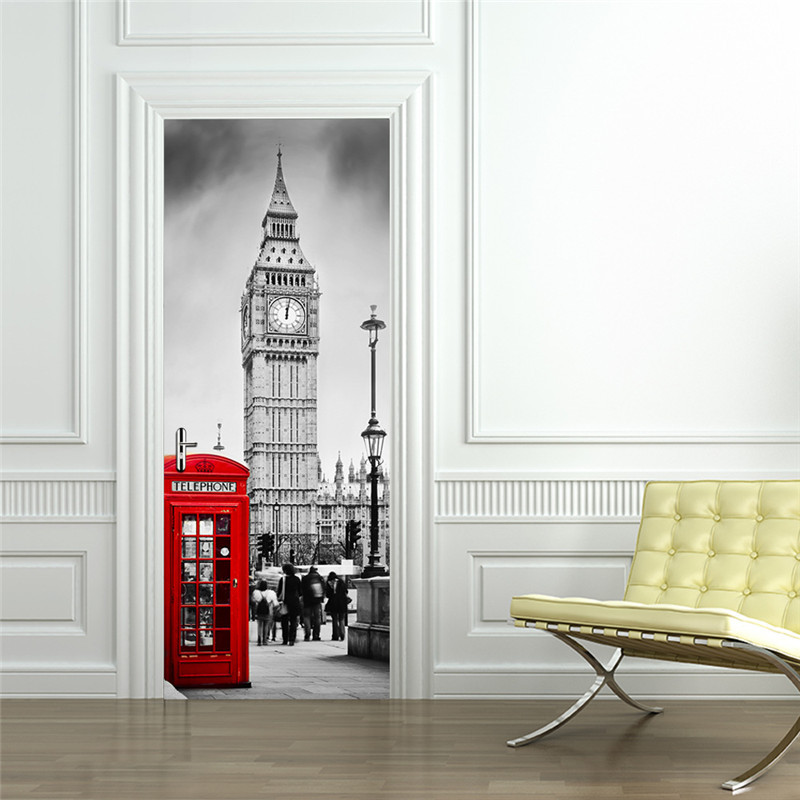 Home Decor Initiative Classic European London Street Landscape Big Ben Red Telephone Booth Adhesive 3d Stickers Decal Custom Window Wall Door Sticker