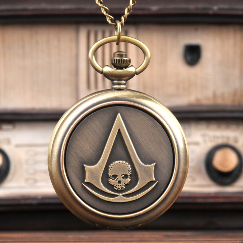 Assassins Creed Full Hunter Quartz Engraved Fob Retro Pendant Pocket Watch Chain Gift