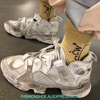 Проблемные Для женщин кроссовки ВПП спортивная обувь Для женщин дышащие толстые резиновой платформе повседневные туфли на плоской подошве