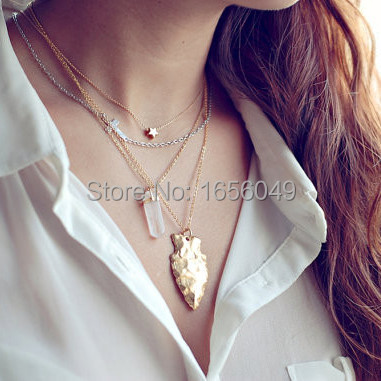 Aliexpress.com  Buy 2015 2pcs fashion jewelry boho chic arrowhead bisuteria plated silver or gold chains collar necklace women Free shipping NK0019 from