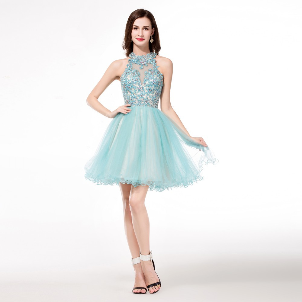 High Neck Light Blue Turquoise Homecoming Dresses Open Back ...