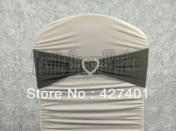 Hot Sale Dark Silver Spandex Bands / Lycra Band /Chair Covers Sash With Heart Shape Buckle For Wedding & Banquet