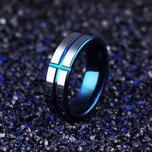 Модные мужские кольца синего цвета из вольфрамовой стали ювелирные