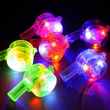 Random Color Luminous Whistle Toys Flashing Colorful Lanyard LED Light Up Fun In the Dark Party Rave light stick to