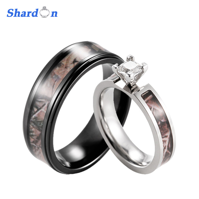 SHARDON Realtree Camo Engagement Wedding Ring Set Titanium 4 Prong Setting  CZ Engagement Ring With Black