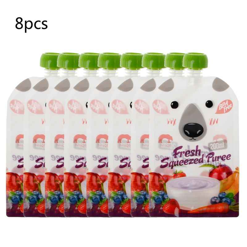 8 PCS Malotes Resealable Espremido Fresco de Alta Qualidade Prático Purê de Alimentos de Desmame Do Bebê Reutilizáveis Espremer Para Recém-nascidos