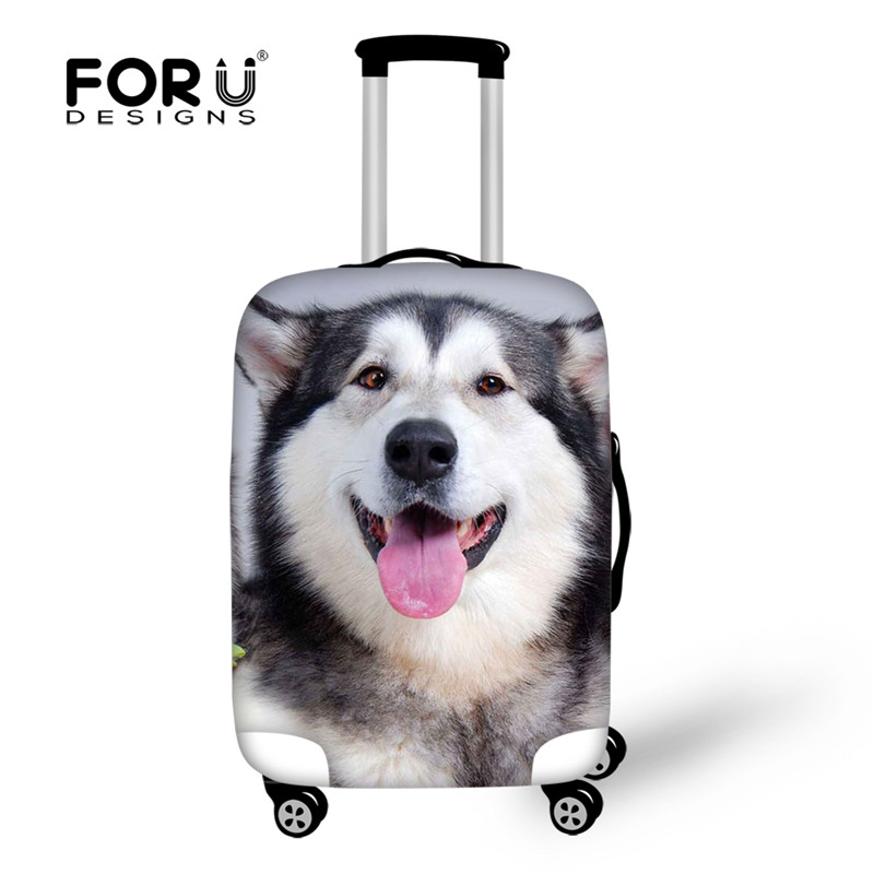FORUDESIGNS Cute Husky Puppy Dog Travel Luggage Cover 3D Animals Wolf Shark Print Elastic 18-28 inch Anti-dust Suitcase Covers цена и фото