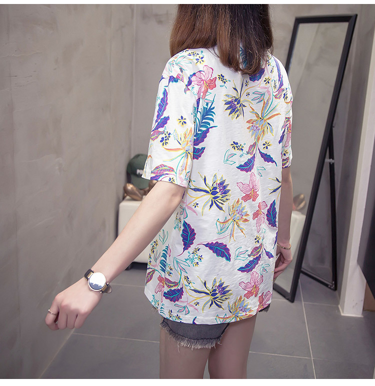 Nkandby Flower Print Summer T-shirt For Woman Fashion Casual Short sleeve Ladies Tshirt 2019 New Bamboo Plus size Basic Tops 4XL 14