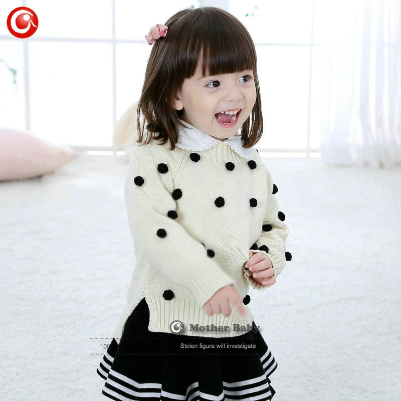 Kids Tinny Cotton Boys Sweater Children Pullover Cardigan Coat For Girls Baby Long Sleeve Knitwear Christmas Clothes With Balls (33)