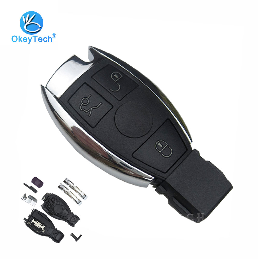 OkeyTech for Benz 3 Button Smart Card Car Remote Key Shell Cover Case Replacement Fob for Mercedes Benz MB C E ML S SL SLK CLK