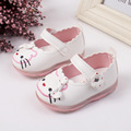 New Children's Shoes Baby Girl's PU Leather Shoes Princess Flash Lighted Lovely Kitty Cat Shoes Spring Autumn Shoes