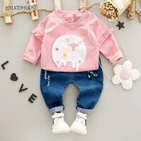 HYLKIDHUOSE 2017 Autumn Baby Girls Clothes Sets Cotton Infant Newborn Suits Lace T Shirt Pants Children