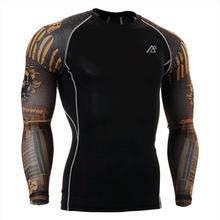 Compression Shirt Long Fitness Mens 3D Prints T-shirt Thermal Muscle Shirts Bodybuilding MMA Top Gear Best for Dry Quick