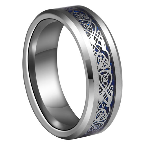 8mm Blue Silvering Celtic Dragon Tungsten Carbide Ring Mens Jewelry Wedding Band Silver Rings Jewelry Eternity Ring