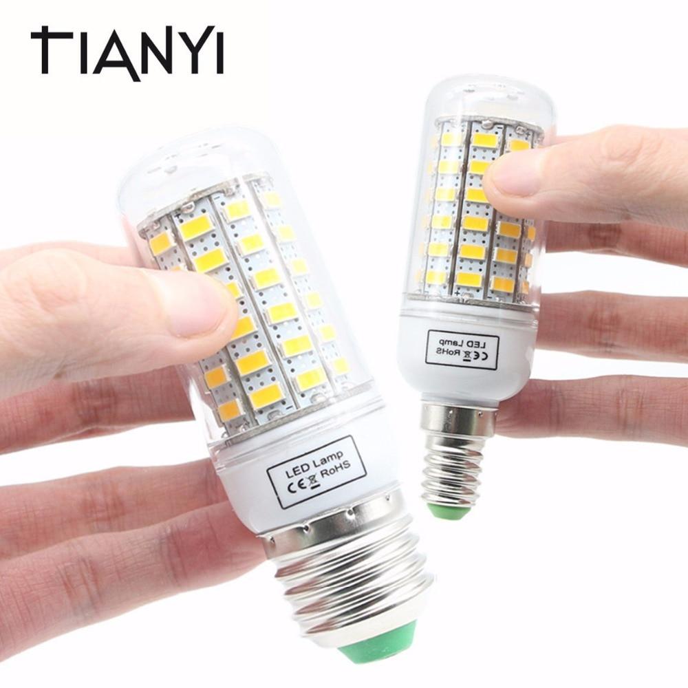 E27 LED Lamp 220V 5730 Corn Light E14 LED Bulbs 24 36 48 56 69 72 81 89 96 120LEDs Bombillas Chandelier Candle Luz Home Lighting led gold deco chandelier bulbs candle light e14 85 265v 5w lamps