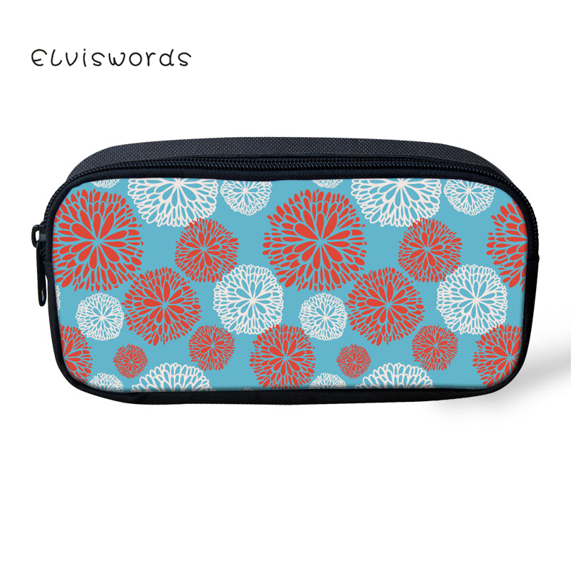 ELVISWORDS Pencil Case Floral Heart shaped Printed Pretty Women Cosmetic Bags Children Girls Boys Stationery School Supplies in Cosmetic Bags Cases from Luggage Bags