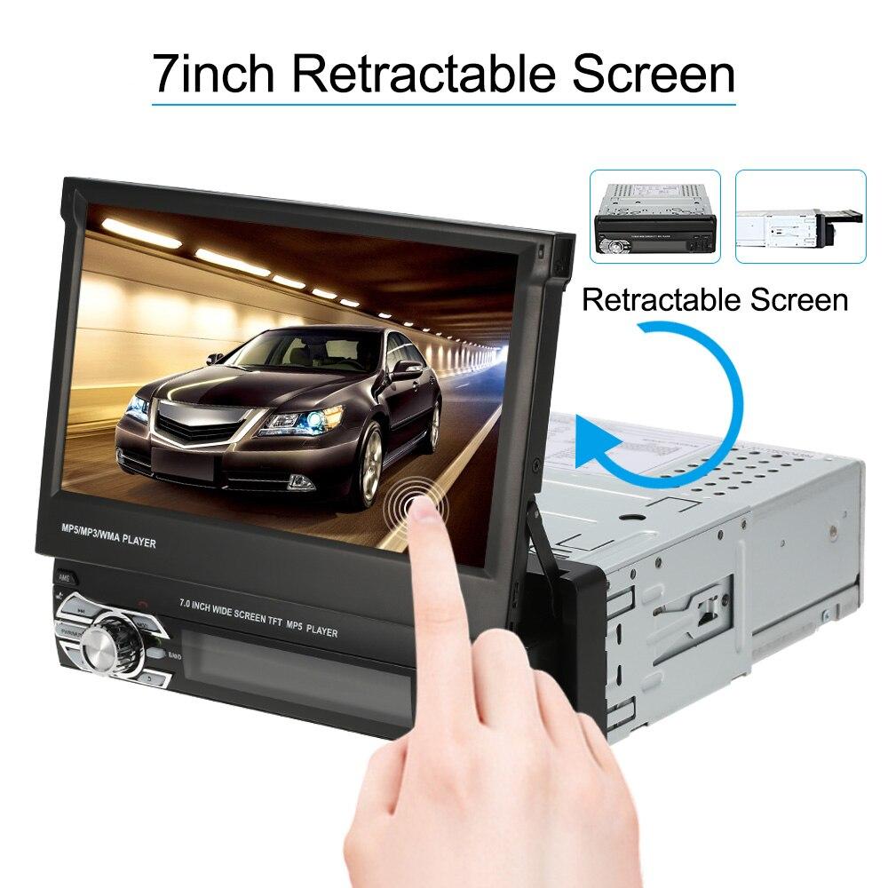 7 Universal polegada Automagnitola 1 Din Car Stereo Radio Player GPS de Navegação Autoradio Retrátil MP5 Player com BT FM USB SD