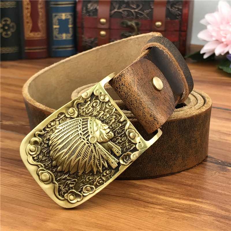 Brass Indian Chief  Belt Buckle Genuine Leather Belt Men Ceinture Homme Yellow Belt Men Male Strap Wide Jeans Belt MBT0424