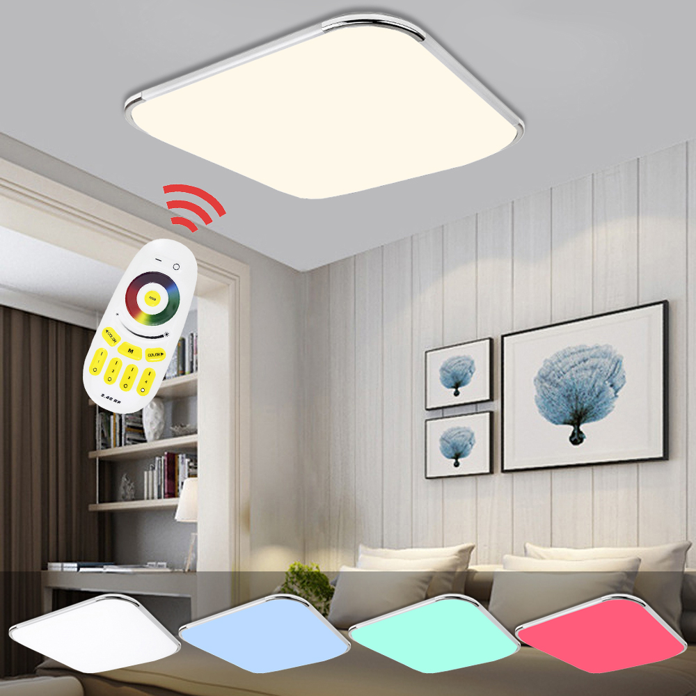 LED Lamp Modern Led Ceiling Lights 24W 36W 48W 64W 96W Dimmable RGB Color living room bedroom kitchen Remote Control blue time led ceiling lights 36w 48w 72w square kitchen light 110v 220v240v modern led ceiling lamp for bedroom