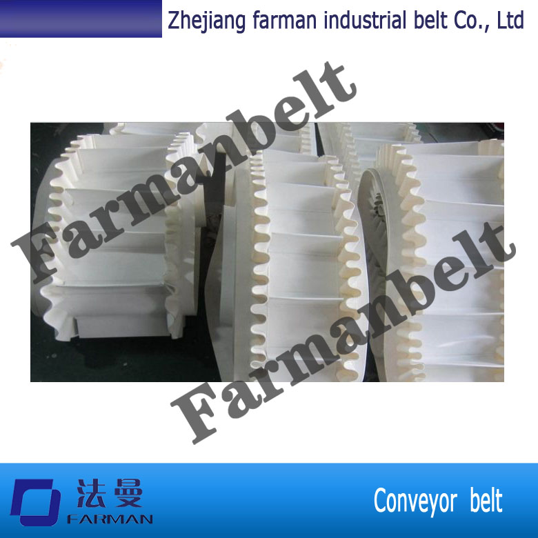 Trade assurance Modular Plastic PU cleated conveyor belt with baffle plate