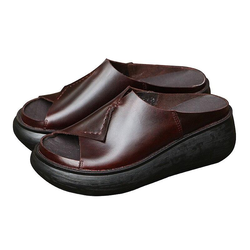 510 5 новая Оригинальная прошитая вручную кожаная обувь женские шлепанцы на толстой подошве женские шлепанцы для отдыха с рифленой подошвой ...