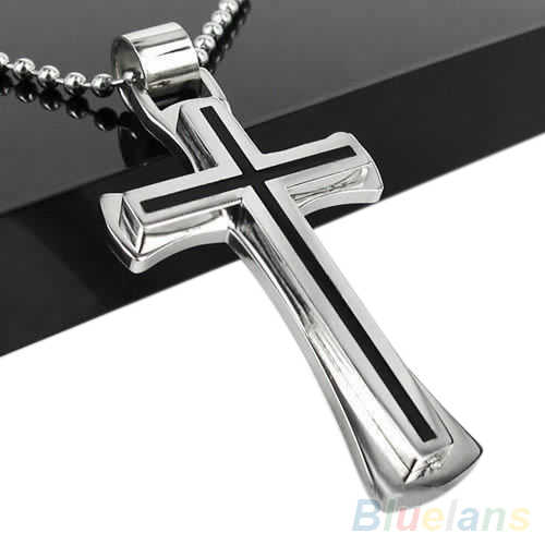 Men Women Cool Black Silver Stainless Steel Cross Pendant Chain Necklace  1QFM