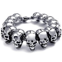 Men's Jewelry Bracelet Heavy Wide Stainless Steel Gothic Skull Head Black Silver