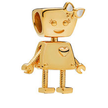 PANDULASO 2018 Winter Gold Color Shine Bella Bot Charm Beads Fits Pandora Bracelet Original Silver 925 DIY Making Jewlery(China)