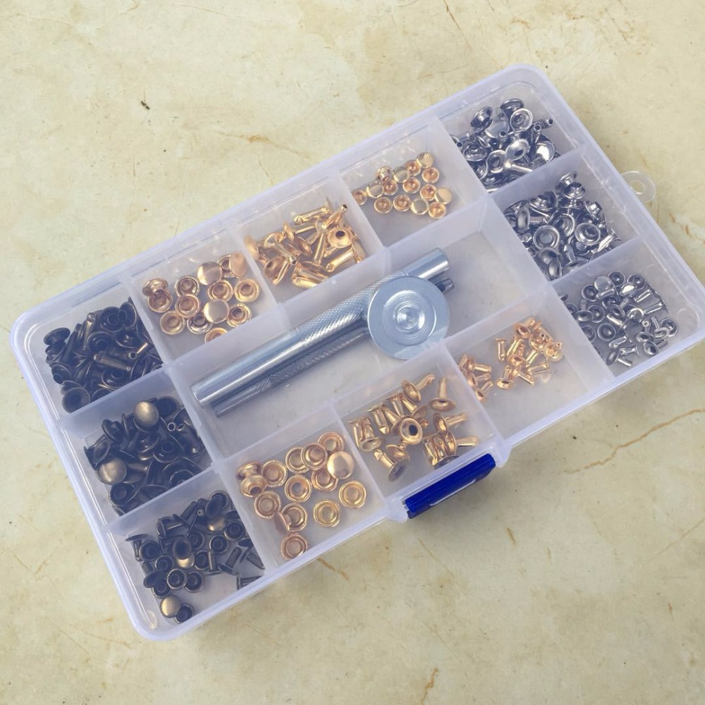 135pcs DIY Leather Craft Rivet Snap Fasteners Buttons Kit Fixing Hat Rivet Tool Sewing Tools