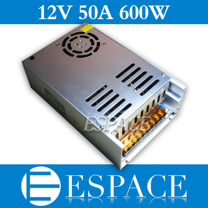 New Model 12V 50A 600W Switching Power Supply Driver for LED Strip AC 100-240V Input to DC 12V free shipping hot 12v 50a 600w 100 264v electronic transformer high quality safy led current driver for led strip 3528 5050 power supply