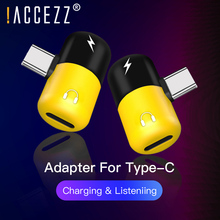 !ACCEZZ Dual Type C Adapter For Huawei P10 P20 Samsung Type-C To 3.5mm Earphone Audio Charging Listening AUX Splitter Connector