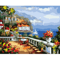 Y54 Sea View Frameless Europe Vintage Painting DIY Painting By Numbers Kits Acrylic Paint Drawing On