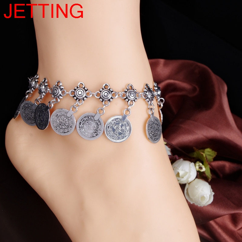 Bohemian Belly Dance Boho Turkish Silver Antalya Coin Anklet Bracelet Gypsy Foot Sandal Beach Ankle Chain