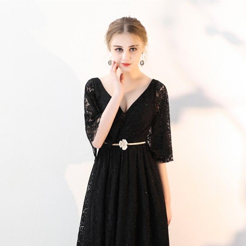 364214803093 ... WeiYin Custom Made Elegant V-Neck Black Winter Evening Dresses Lace  Half Sleeve Robe De ...