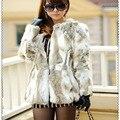 Lady Luxury Real Piece Rabbit Fur Coat Jacket  Autumn Winter Women Fur Trench Outerwear Coats Clothing 1020