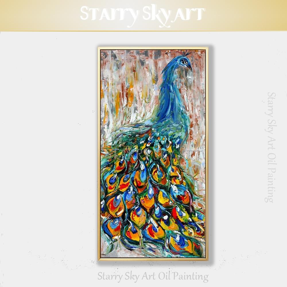Peinture animale colorée peinte à la main Pure peinture à l'huile de paon acrylique pour décor mural spécial couteau texturé peinture de paon