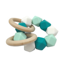 3pcs Baby Nursing Bracelet Silicone Teether Wooden Teether Ring Safe Organic Infant Baby Bangle Teether Toys