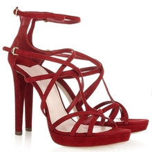 2015 Thin High Heels For Women Shoes Summer Wedding Dress Ladies Cross-tied Red Suede Ankle Strap Peep Toe Sandals Women