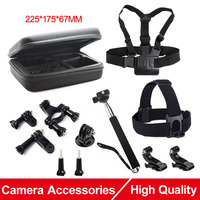 Action Camera Accessories Set EVA Collecting Box Monopod Tripod Headband for SJCAM SJ4000 M10 Gopro Hero 5 4 EKEN H9 Xiaomi Yi