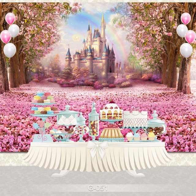 Vinyl fotografia tło zamek pałac różowy kwiat urodziny Party Deco Banner dzieci Backdground dla Photo Studio