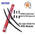 Car Windshield Wiper Blade Para Alfa Romeo 156,166,159, GT, Mito, Giulietta, escova, Bracketless Limpa, Natural borracha, Acessórios do carro