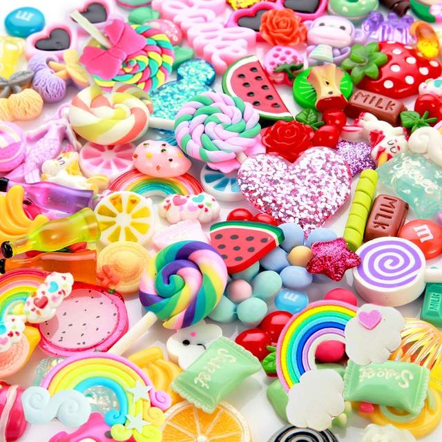 DIY Toys 100 pcs Arts Charms for Slime Assorted Fruits Candy Flatback Resin for Craft Making, Ornament Scrapbooking DIY Crafts