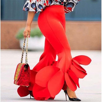 Women Pants Bodycon Flared Trousers Ruffles Office Ladies Female Summer Slim Pants Bell Bottoms Casual Elegant Classy Fashion