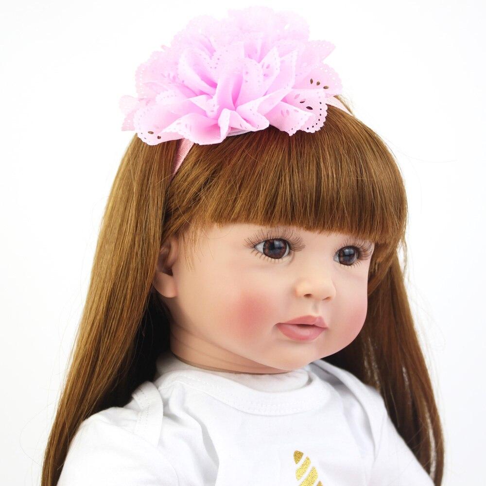 60 cm grande taille Silicone vinyle Reborn poupée jouet réaliste princesse bambin bébés avec thème licorne vivant Bebe fille cadeau d'anniversaire - 5