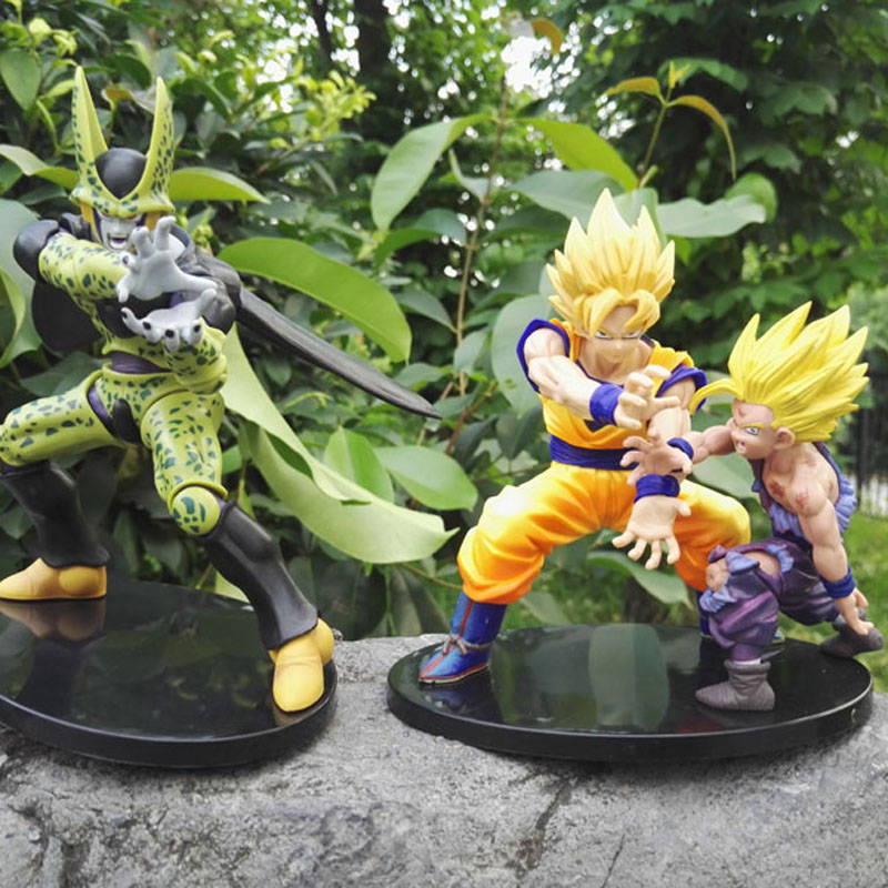 Anime Dragon Ball Z Dramatisk Showcase Super Saiyan Son Goku Gohan Cell 12cm - 17cm PVC Action Figur Modell Dolls Collection gåva