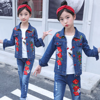Teenage Girls Clothing 2pcs Girls Fashion Kids Outfit Children Clothes 8 Years Red Flower Embroidery Jeans Jacket/Coat/Tshirt