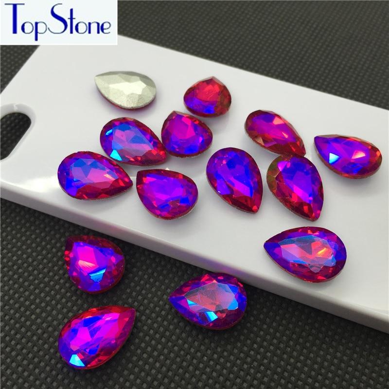 25 x AB  RED Tear Drop  Stones  flat back  crystal gems