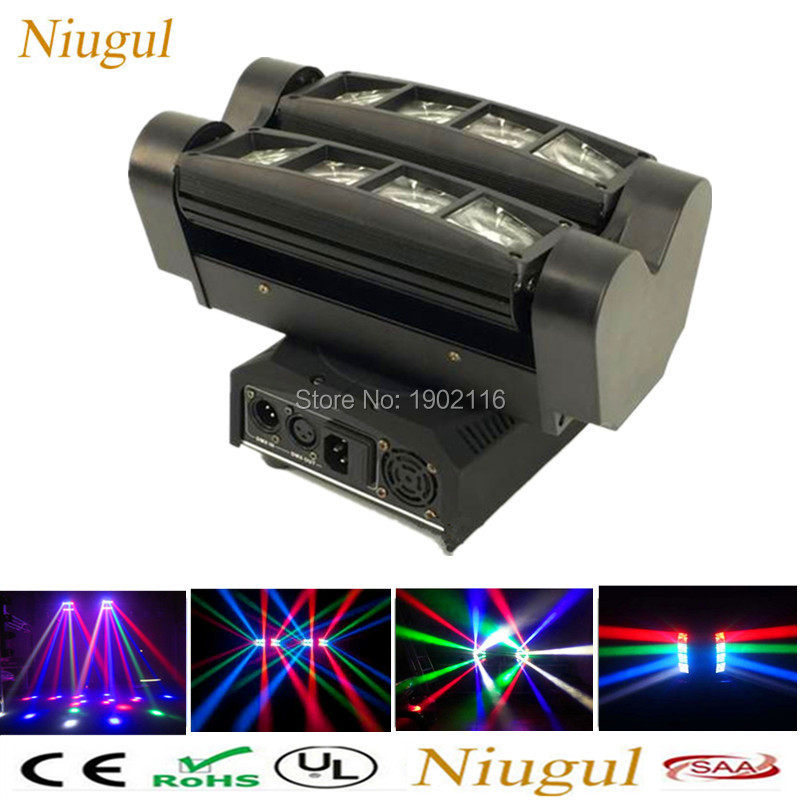 Niugul Professional LED Stage lighting 8x10W RGBW MINI Led Spider Moving Head Beam Light DMX512 LED Spider Light dj disco lights стоимость